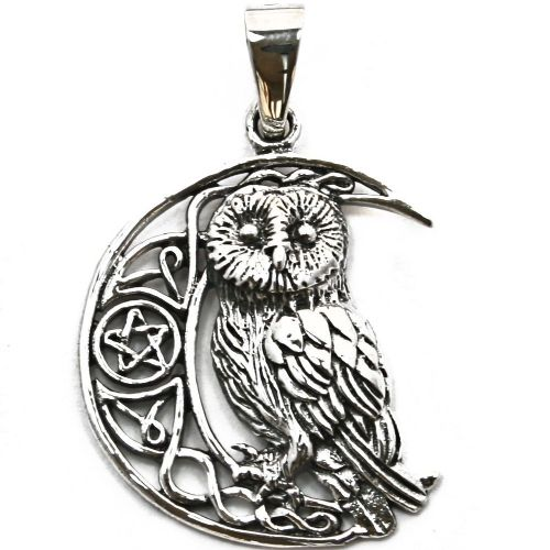 Moon Owl with Pentagram Silver Pendant (P068)